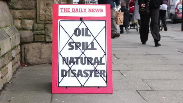 Newspaper Headline Baord - Oil Spill