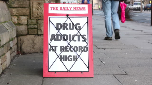 Newspaper Headline board - Drug Addicts at record high