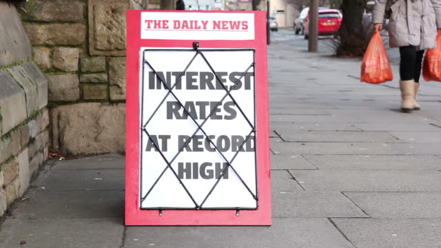 Newspaper headline board - Interest rates at record high