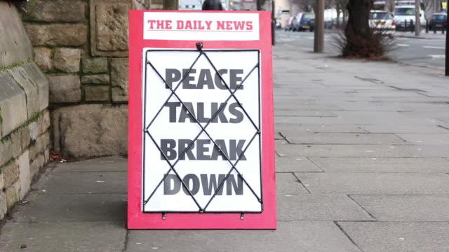 Newspaper Headline Board - Peace talks break down