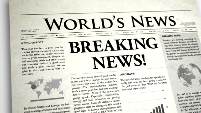 newspaper headline: breaking news - breaking news stock videos and b-roll footage