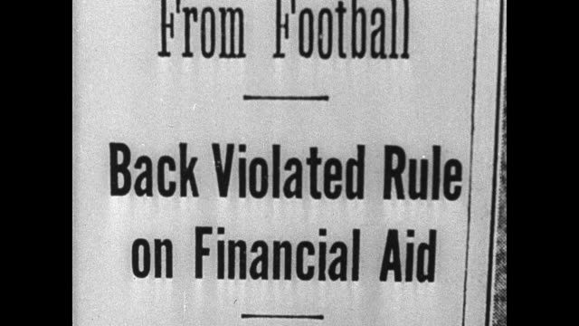 stockvideo's en b-roll-footage met newspaper headline: 'captain haley ineligible' harvard bars from football. more headlines 'subsidizing harmful to youths.' mit's george owens... - 1936