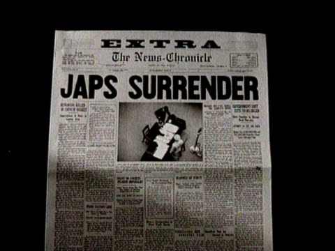 newspaper headline for japanese surrender / japanese surrender / narrated - japanese surrender stock videos and b-roll footage