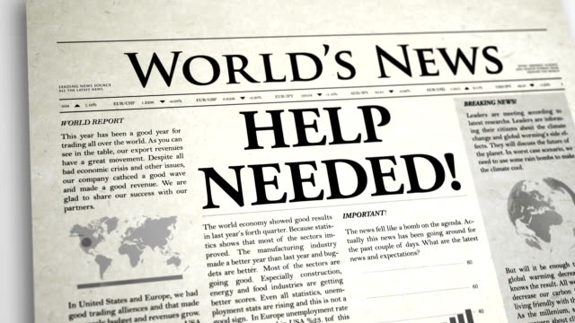 newspaper headline: help needed - help single word stock videos and b-roll footage