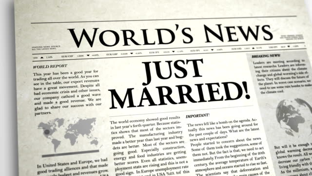 vídeos de stock e filmes b-roll de primeira página de jornal: just married - ponto de exclamação