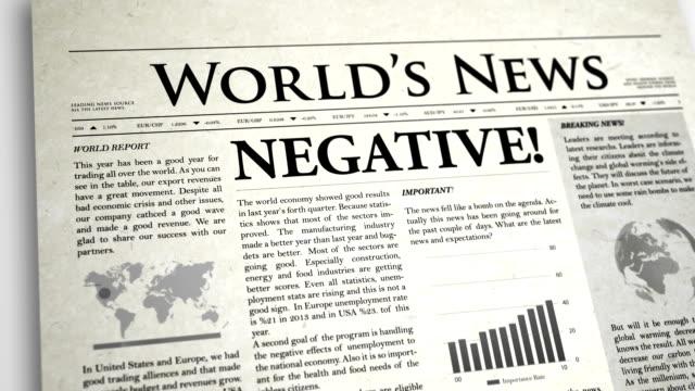 newspaper headline: negative - press release stock videos and b-roll footage