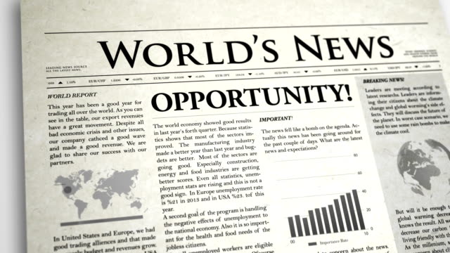 newspaper headline: opportunity - article stock videos and b-roll footage