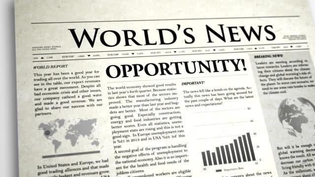 stockvideo's en b-roll-footage met newspaper headline: opportunity - artikel