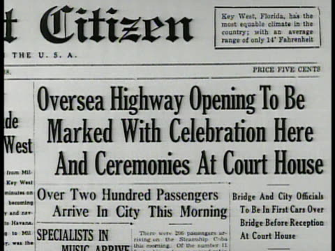 newspaper headline 'overseas highway openingcelebration' la cars driving on overseas highway passing through frame xws elevated overseas highway w/... - two lane highway stock videos and b-roll footage