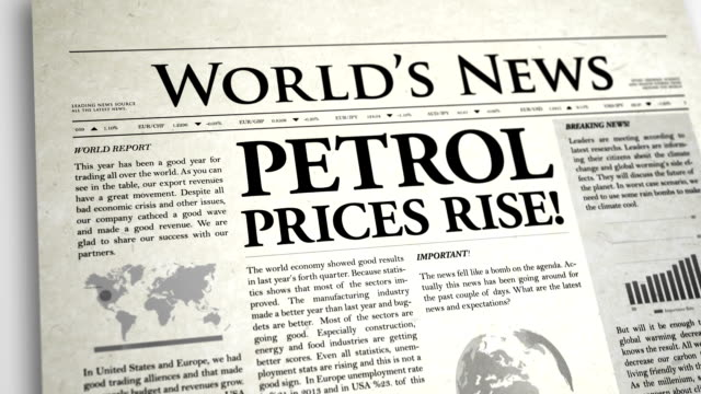 newspaper headline: petrol prices rise - exclamation point stock videos and b-roll footage