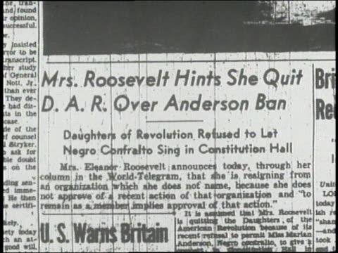 stockvideo's en b-roll-footage met newspaper headline reads mrs roosevelt hints she quit dar over anderson ban. - artikel