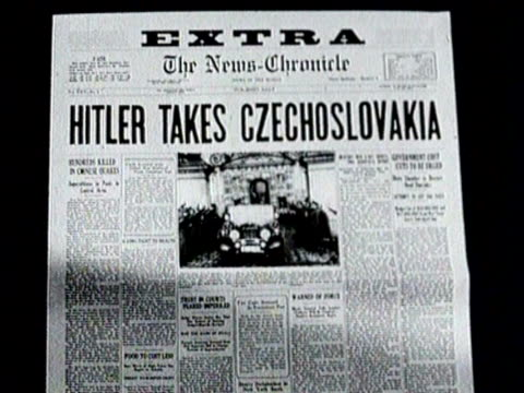 newspaper headline reports hitler takes czechoslovakia / - newspaper headline stock videos & royalty-free footage
