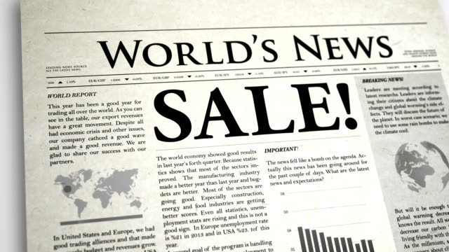 newspaper headline : sale - exclamation point stock videos and b-roll footage
