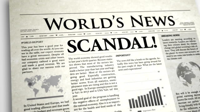 newspaper headline: scandal - article stock videos and b-roll footage