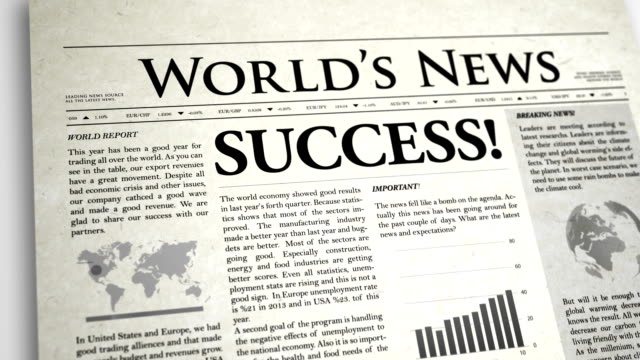 newspaper headline: success - exclamation point stock videos and b-roll footage