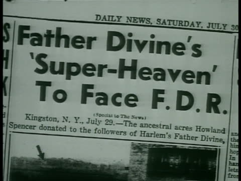newspaper headline 'super heaven to face fdr' property 'donated' to father divine' map of property in newspaper - hudson valley stock videos and b-roll footage