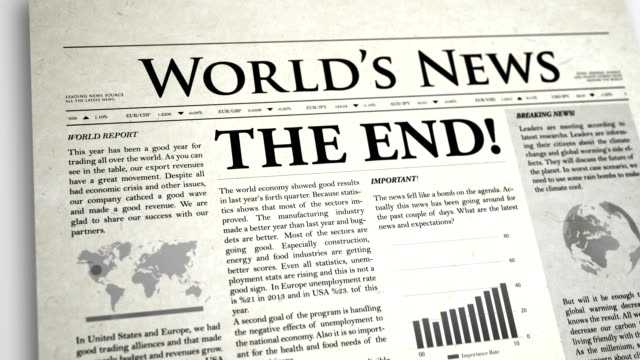 newspaper headline: the end - exclamation point stock videos and b-roll footage