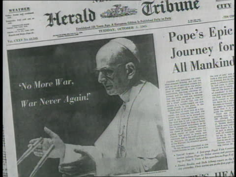 Newspaper headlines display a variety of good news and bad in 1965