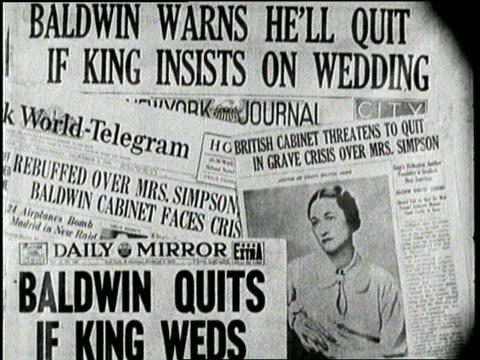 newspaper headlines expose british king edward's romance with wallace simpson. - エドワード8世点の映像素材/bロール