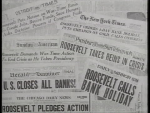 stockvideo's en b-roll-footage met newspaper headlines read, president roosevelt calls bank holiday. - 1933