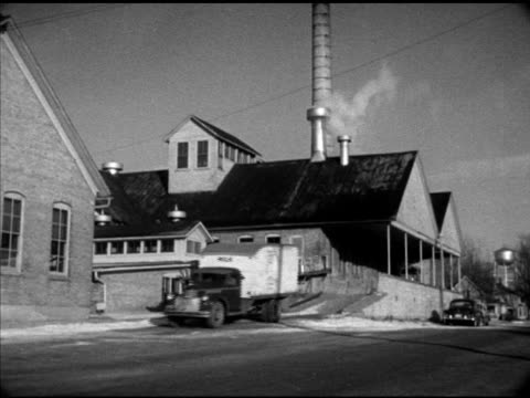Newspaper highlight 'Yule Payrolls Holiday Orders' VS Milk delivery truck leaving United Milk Product Company warehouse dye company of 'AO Smith...