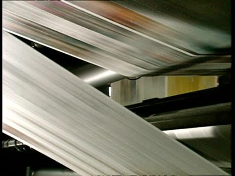 MCU Newspaper print run speeding through conveyor belts in printing factory