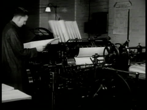newspaper printing machine making copies worker cu police gazette 'william mead' w/ mug shot london - mug shot stock videos & royalty-free footage