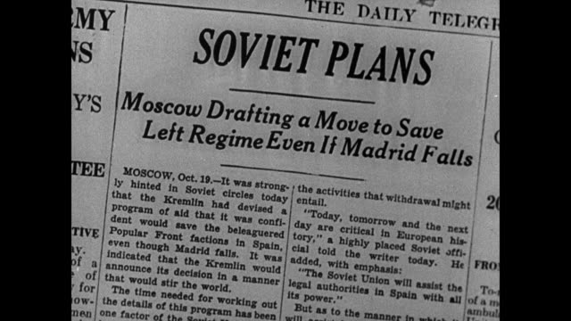 newspaper 'soviet plans' vs spanish soldiers marching firing rifles cannons ws field smoke ws light armored tank on field trees xla ws fighter... - 1937 stock videos and b-roll footage