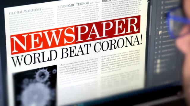 "newspaper title - ""world beat corona!"" - newspaper headline stock videos & royalty-free footage"