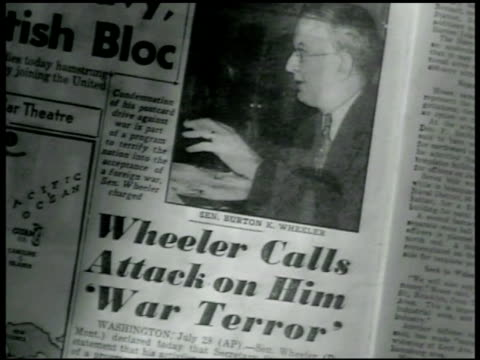 Newspaper w/ photo of Senator Wheeler 'calls attack on him war terror' CU Wheeler reading statement 'Out independence can only be lost or compromised...