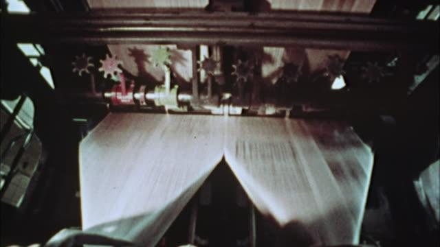 cu, composite, newspapers being printed, 1970's, los angeles, california, usa - 印刷機点の映像素材/bロール