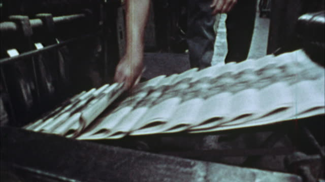 CU, COMPOSITE, Newspapers being printed, 1970's, Los Angeles, California, USA