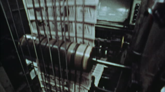 cu, tu, newspapers being printed, 1970's, los angeles, california, usa - pressa da stampa video stock e b–roll