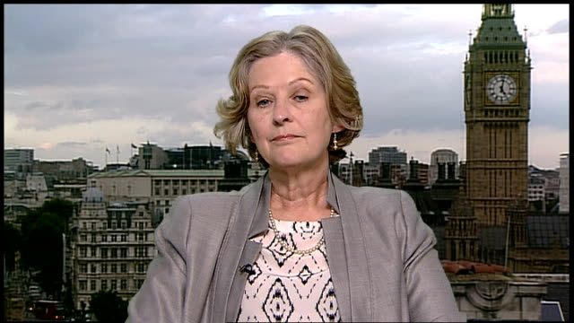 newspapers' plans for press regulation rejected westminster baroness hollins sitting in studio - キャシー・ニューマン点の映像素材/bロール
