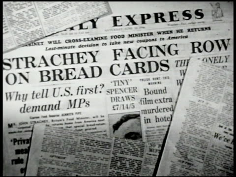 newspapers 'strachey facing row on bread cards.' ext english women protesting food & bread rations banners. woman speaking to crowd. crowd. vs... - bread stock videos & royalty-free footage