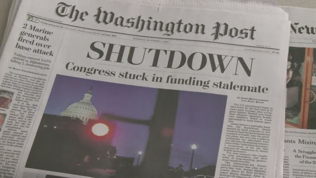 newspapers were widely commenting tuesday on washingtons perennial political crisis which forced the first government shutdown in 17 years. clean :... - government shutdown stock videos & royalty-free footage