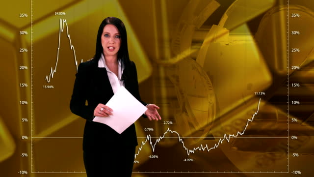 hd: newsreader giving interactive stock exchange news - report document stock videos & royalty-free footage