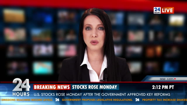 hd: newsreader giving the stock exchange news - the media stock videos & royalty-free footage