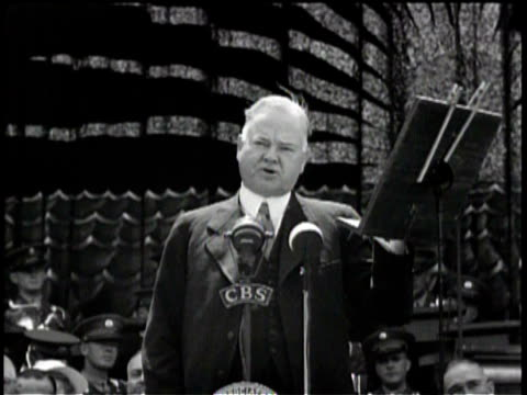 newsreel / a crowd of american citizens watching herbert hoover deliver a speech / hoover delivers speech about power and dictatorship / - herbert hoover us president stock videos & royalty-free footage