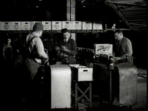vídeos de stock e filmes b-roll de newsreel / a woman watches as beer bottles move forward in a bottling machine / men remove the bottles from one machines and place them on another... - enfeites para a cabeça