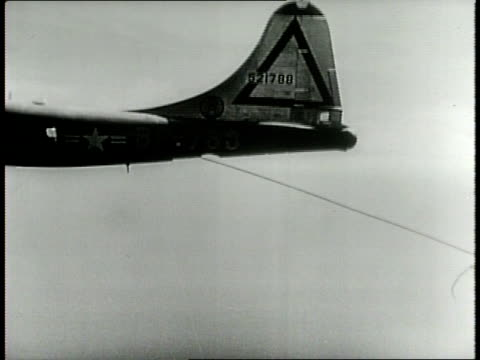 Newsreel / Cold War / A Boeing B50 Superfortress named Lucky Lady circles the world nonstop with inflight refueling by B29 tanker planes in 1949 /...