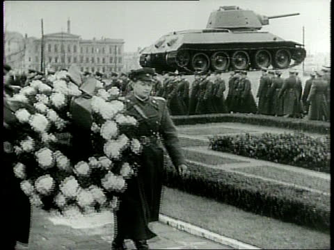 newsreel / cold war / title card reads: news from germany - red troops mark army day in berlin / russians celebrate soviet armed forces day in... - cold war stock videos & royalty-free footage