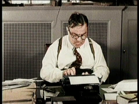 newsreel / fiorello h la guardia dies on september 20 1947/ highlights of his political career / man at desk puts gold tiger on side / la guardia... - narrating stock videos & royalty-free footage