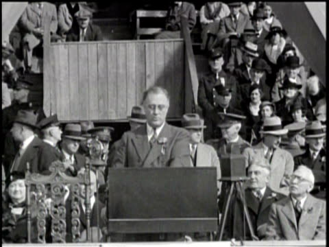 newsreel / franklin delano roosevelt speech regarding peace with russia / people gathered / roosevelt speaking at podium with attendees behind him /... - 1938 stock videos & royalty-free footage