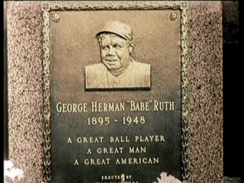 newsreel / george herman babe ruth jr dies on august 16 1948 in new york / exterior of yankee stadium with mourners / ruth shaking hands at a desk /... - narrating stock videos & royalty-free footage