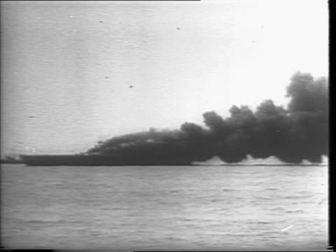 Newsreel / Japanese kamikaze hits the carrier ship Bunker Hill / soldiers are rescued from sea as attempts are mode to put out fire