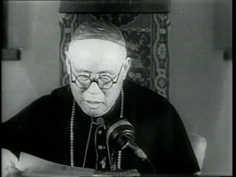 newsreel / narrated / china's first cardinal thomas tien kensin visits saint mary's mission house near chicago / he smiles at the camera and strolls... - narrating stock videos & royalty-free footage