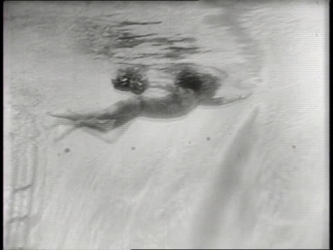 Newsreel / Narrated / Paramount News / First underwater rehearsal for Santa Claus in Palm Springs California in 1940 / Santa Claus descends into a...