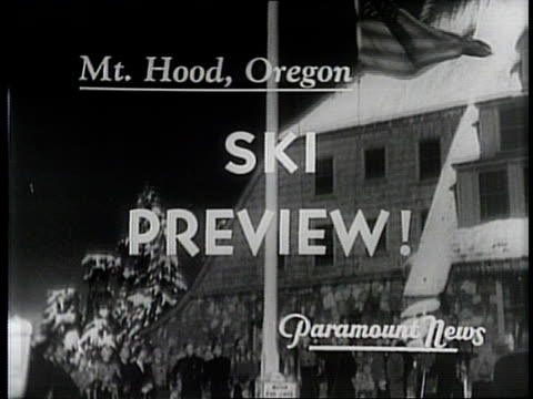 vídeos y material grabado en eventos de stock de newsreel / narrated / paramount news / title card reads: ski preview! / a preview of the year's ski fashion at mt hood in oregon in 1940 / skiers buy... - narrar