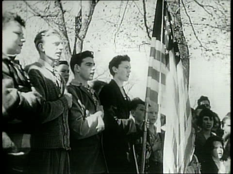 newsreel / narrated / people gather in new york's central park to restate their allegiance to the american government on i am an american day / in... - pledge of allegiance stock videos & royalty-free footage